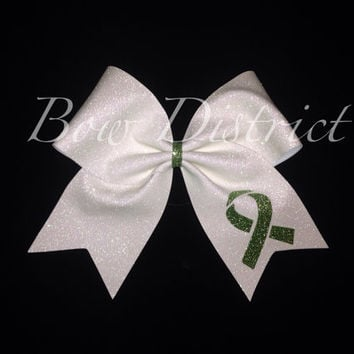 3 Lymphoma Awareness White Glitter Cheer Bow Lime by BowDistrict