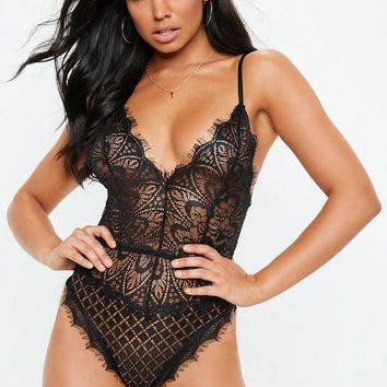 Missguided - Black All Over Eyelash Lace Bodysuit