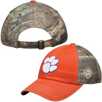 Clemson Tigers Top of the World Dirty Camo Adjustable Hat – Orange