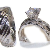 His & Hers 3 Piece Wedding Engagement Ring Set White Gold Ep Sterling Silver (Womens 5-9)(mens 8-12) Whole & Half Sizes.Please Email Us the Sizes That You Need.