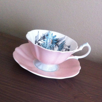Antique Queen Anne fine English Bone China pastel pink and blue floral tea cup and saucer, wedding gift, English tea set