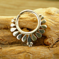 Silver Septum For Pierced Nose - Nose jewelry - Septum Jewelry - Indian Nose Ring - Ethnic Septum - Septum Piercing (Code: S27)