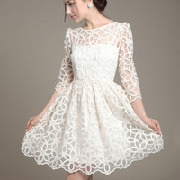 White Floral Lace Long Sleeve A-line Pleated Mini Dress