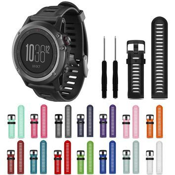 Soft Silicone Smart Watch Band Wrist Strap Bracelet Adjustable Stylish Replacement Accessory For Garmin Fenix 3 HR With Tools