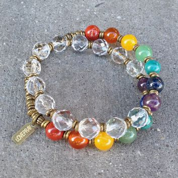 Chakras, Genuine Gemstones and Quartz Crystal 27 Bead Wrap Mala Chakra Bracelet