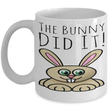 Fun Kid Mug Bunny Rabbit Cup For Children White Bpa Free Chocolate Cookies Jar Coloring Marker Holder Drink Mugs For Cocoa Milk Juice Best Affordable Holiday Gift For Kids 2017 2018 The Bunny Did It
