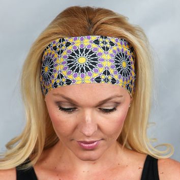 Wide Bohemian Headband Fashion Headband Fitness Headband Moisture Wicking Headband No Slip Headband Running Headband Yoga Headband Head Wrap