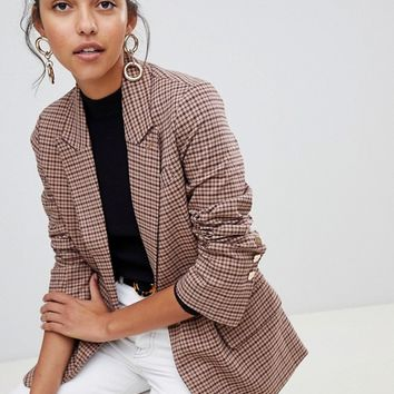 Oasis heritage check blazer in check | ASOS
