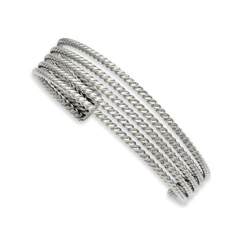 17mm Stainless Steel Twisted & Tapered Cuff Bracelet