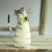 Tiger Cat With A Green Tie - Needle Felt Cat - Needle Felt Art Doll
