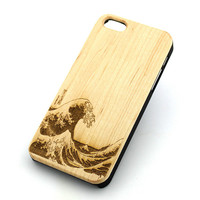 W144 GENUINE WOOD Organic Snap On Case Cover - GREAT WAVE OFF KANAGAWA