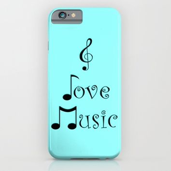 I Love Music - Techno Turquoise iPhone & iPod Case by Moonshine Paradise