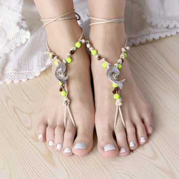 SALE - Beaded Barefoot Sandals, Hippie Bare Foot Sandles, Boho Nude Shoes, Beach Wedding Toe Thongs, Rope Anklet Jewelry, Neon Yellow Brown
