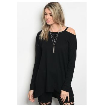 """Adorable Me"" One Side Cold Shoulder Black Sweater Top"