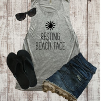 Resting Beach Face Muscle Tank Top