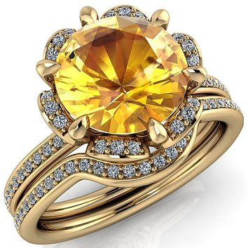 Daisy Round Lab-Created Yellow Sapphire Floral Diamond Basket Design and Diamond Shoulders Ring