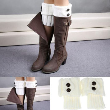 Women Winter Leg Warmer Button Crochet Knit Boot Socks Toppers Cuffs 6 Color = 1929995140
