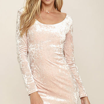 Deja Vu Blush Pink Velvet Bodycon Dress
