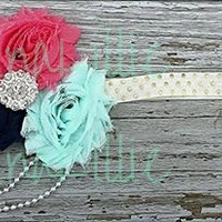 Navy Coral and Mint Elastic Headband/Cute Headband for baby girls and older girls/ Stretchy headband in Mint Navy and Coral/ Shabby Headband