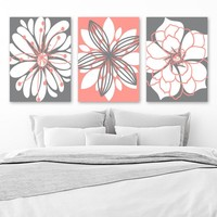 CORAL GRAY Flower Wall Art Canvas or Prints Floral Bathroom Decor, Coral Gray Bedroom Wall Decor, Flower Wall Art, Set of 3 Artwork