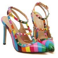 Multi-Color Studs Pointed High Heels