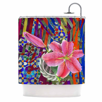 """S Seema Z """"Lily Explosion"""" Pink Mulitcolor Shower Curtain"""