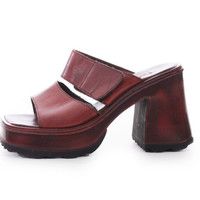 90s Vintage Brown Leather Chunky Platform Sandals Steve Madden Summer Shoes Womens Size US 7 UK 5 EUR 37 38