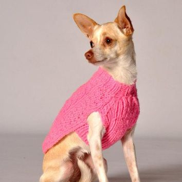 Handmade Cable Knit Wool Dog Sweater - Pink