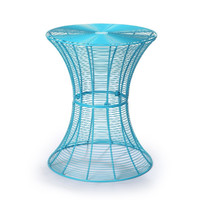Round Hourglass End Side Tables - Iron - Sky Blue