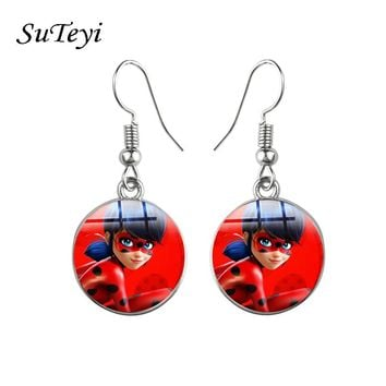 Suteyi Miraculous Cartoon Ladybug Stud Earrings Animal Earrings Cat Noir Miraculous Ladybug Anime Jewelry For Girl Kids Gifts