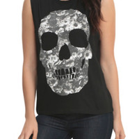 Floral Skull Girls Muscle Top