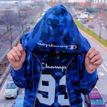 Champion camouflage Cotton cardigan hoodie Blue