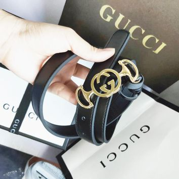 GUCCI New fashion personality letter buckle couple belt width 2.5 CM