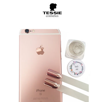 rose gold chrome nail effect on pink color mirror powder silver Pigment Ultrafine Powder nail pigment Chrome Pigment Nail