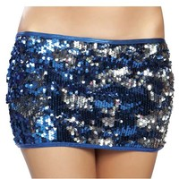 Blue and Silver Sequin Skirt : Reflective Holographic Sequin Miniskirt