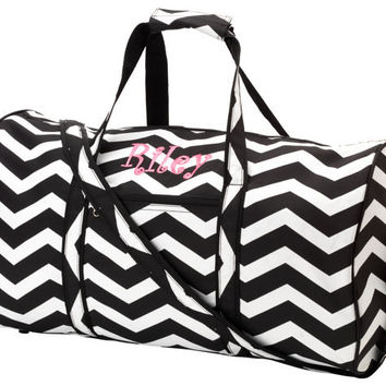 Monogrammed Black Chevron Duffel Bag- Great for Gifts