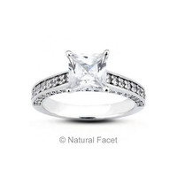 Natural Facet 1.32 Carat Total G-SI1 Very Good AGI Cert Princess Natural Diamond 14K White Gold Cathedral Engagement Ring