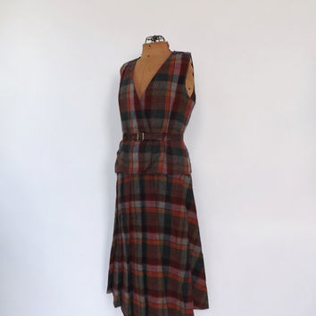 Vintage 1960s 70s Two Piece Suit Skirt Vest Suit Set Plaid Wool Travel Suit Preppy School Girl English Size Small Retro 1970s Skirt Suit