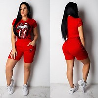 2019 European and American fashion Summer Women designer Short Sleeve Printed Two Piece T Shirts Crop Tops and Short Pants Clothing Suits Ca