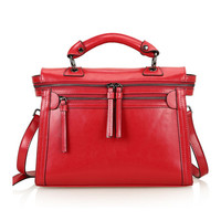 Leather Structured Doctors Bag Across Body Tote Bag w/ Removable Shoulder Strap-Wine Red from KissBags