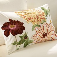 DAHLIA EMBROIDERED LUMBAR PILLOW COVER