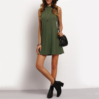 Women's Casual Olive Green Sleeveless Shift Dress