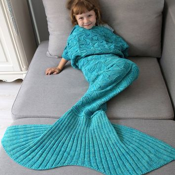 Crochet Spiral Algae Knitted Mermaid Blanket Throw For Kids