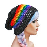 Black and Rainbow Beanie - Slouch - Mens or Unisex- Ultimate Slacker Striped Beanie Hat- Pride