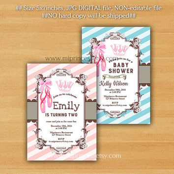 Ballerina Birthday Invitation, baby shower, girl ballet crown, party invitation any age 1st 2nd 3rd 4th 5th 6th 7th 8th 9th 10th - card 205