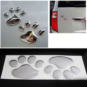 Pair Cool Design Paw Car Sticker 3D Animal Dog Cat Bear Foot Prints Footprint 3M Decal Car Stickers Silver Gold