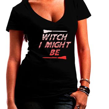 Witch I Might Be Juniors Petite V-Neck Dark T-Shirt by TooLoud