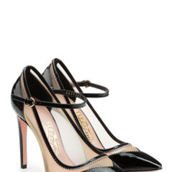 Leather Pumps with Net Detail - Salvatore Ferragamo | WOMEN | US STYLEBOP.com