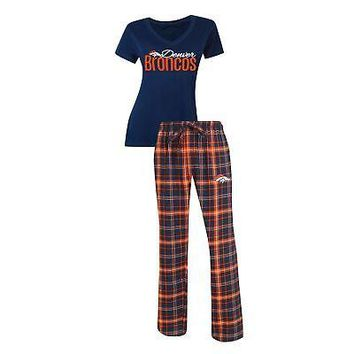 NFL Women's Denver Broncos Halftime Pajamas Shirt & Pant Sleep Set
