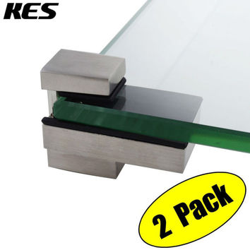 Kes Hsb303A-2-P2 Solid Metal Adjustable Wood/Glass Shelf Bracket Wall Mount 2 Pcs Or One Pair Brushed Nickel